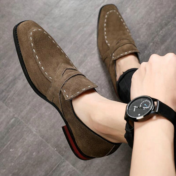 Men Flat Black suede ShoeS Men loafers Driving slip on Shoes Man Dress Shoes BIG SIZE 48 Men Casual flats shoes  A57-37