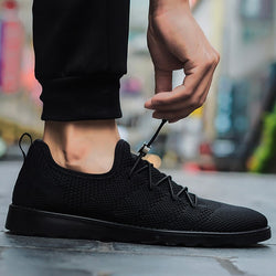New 2018 Spring/autumn Casual Air Mesh Man Shoes Elastic Band Breathable Simple Light Shoes Calzado Male Size 39-44 Black Fd3