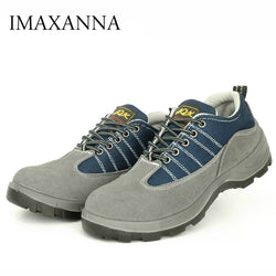 IMAXANNA Men Safety Shoes Steel Toe Man Work Shoe Outdoor Puncture Proof Mesh Breathable Shoes Men's Casual Boots Oversize 46