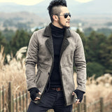 2017 Men Winter faux fur woolen long slim thick warm jacket Mens coat European style fashion brand casual retro cashmere jacket