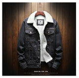 Men Light Blue Winter Jean Jackets Outerwear Warm Denim Coats New Men Large Size Wool Liner Thicker Winter Denim Jackets Size6XL