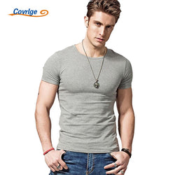 Covrlge 2019 Hot Summer Men T-shirts Solid Color Slim Fit Short Sleeve T Shirt Mens New O-neck Tops TShirt Brand Clothing MTS291