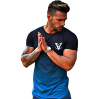 YEMEKE Fashion Gradient color T Shirt Men Fast compression Breathable Mens Short Sleeve Fitness t-shirt Gyms Tight Casual Top