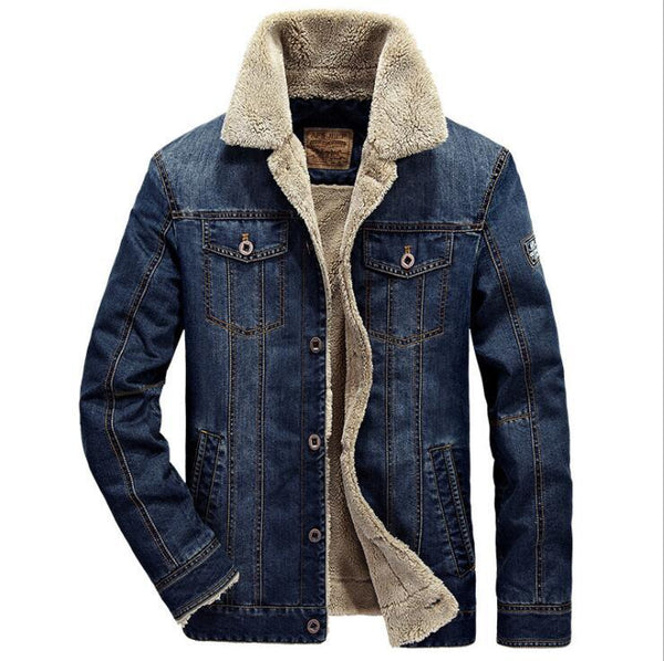 2019 Mens Winter Thick Fleece Chest Pockets Rodeo Lined Denim Jackets Fashion Mens Jeans Jacket Thicken Warm Winter Outwear Male