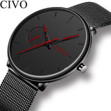 CIVO Fashion Mens Watches Quartz Watch Men Waterproof Minimalist Ultra Thin Stainless Steel Mesh Wristwatch For Man Gift Clock