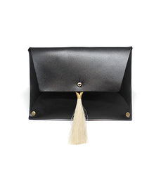 Thalia Clutch - Black with Natural Horsehair Tassel