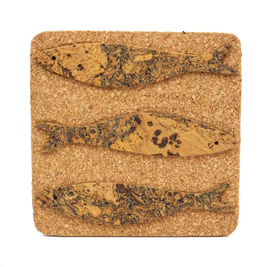 Cork table coaster with sardine pattern