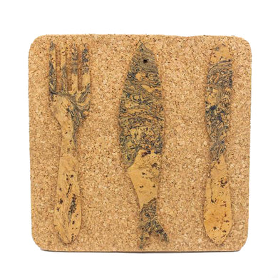 Cork table coaster with fork, knife and a sardine pattern