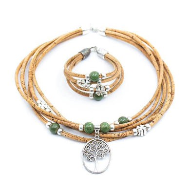 Tree of Life with green pearls and cloverleaf charms