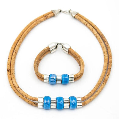 Natural, with blue porcelain beads