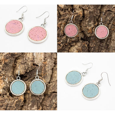 Blue and pink round pendants