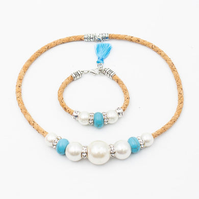 Natural, with azure tassel and turquoise and white stones