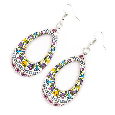 Drop-shape colourful printed earrings