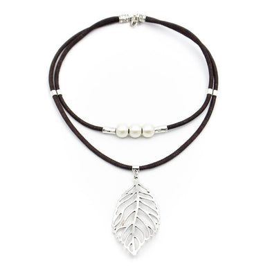Brown, with pearl beads and leaf pendant