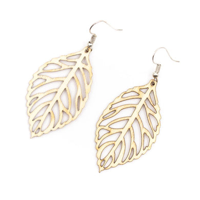 Leaf-shaped wooden earrings
