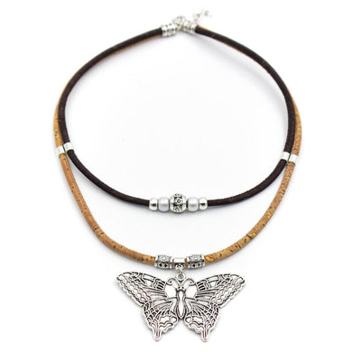 Natural/dark brown, with butterfly pendant