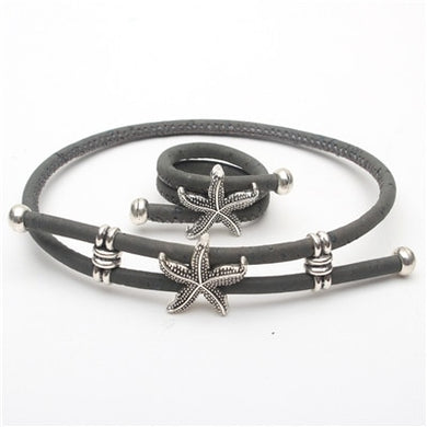 Grey and natural with starfish charm