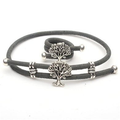 Natural and grey, with Tree of Life charm