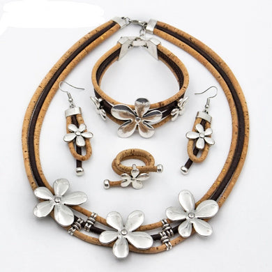 Natural/brown, with flower charms
