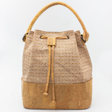 Bucket bag with white pattern