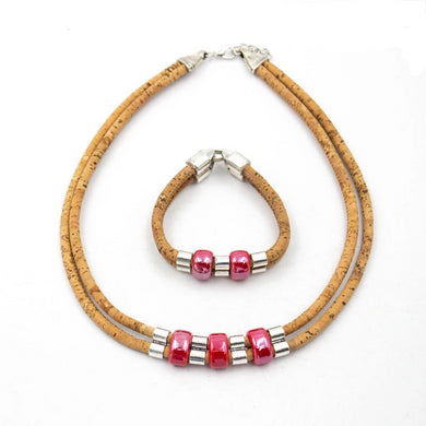 Natural, with pink porcelain beads