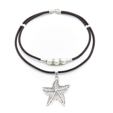 Brown, with beads and silver starfish pendant