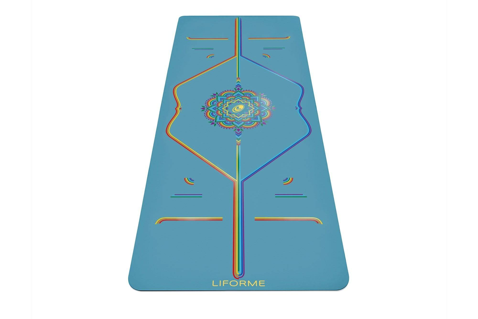 Portrait view of Blue Sky Yoga mat from Liforme