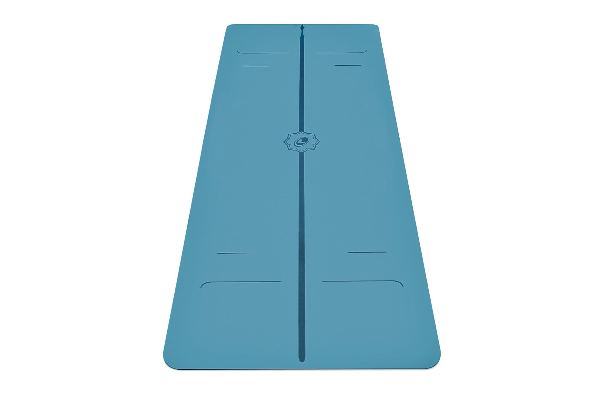 Portrait view of blue Evolve Yoga mat from Liforme