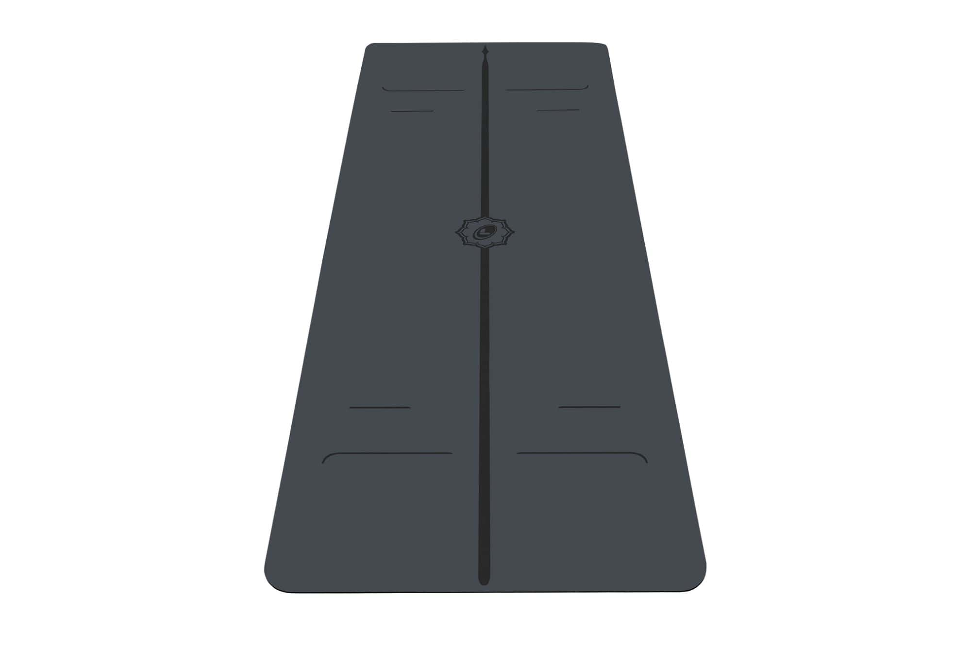Portrait view of grey Evolve Yoga mat from Liforme