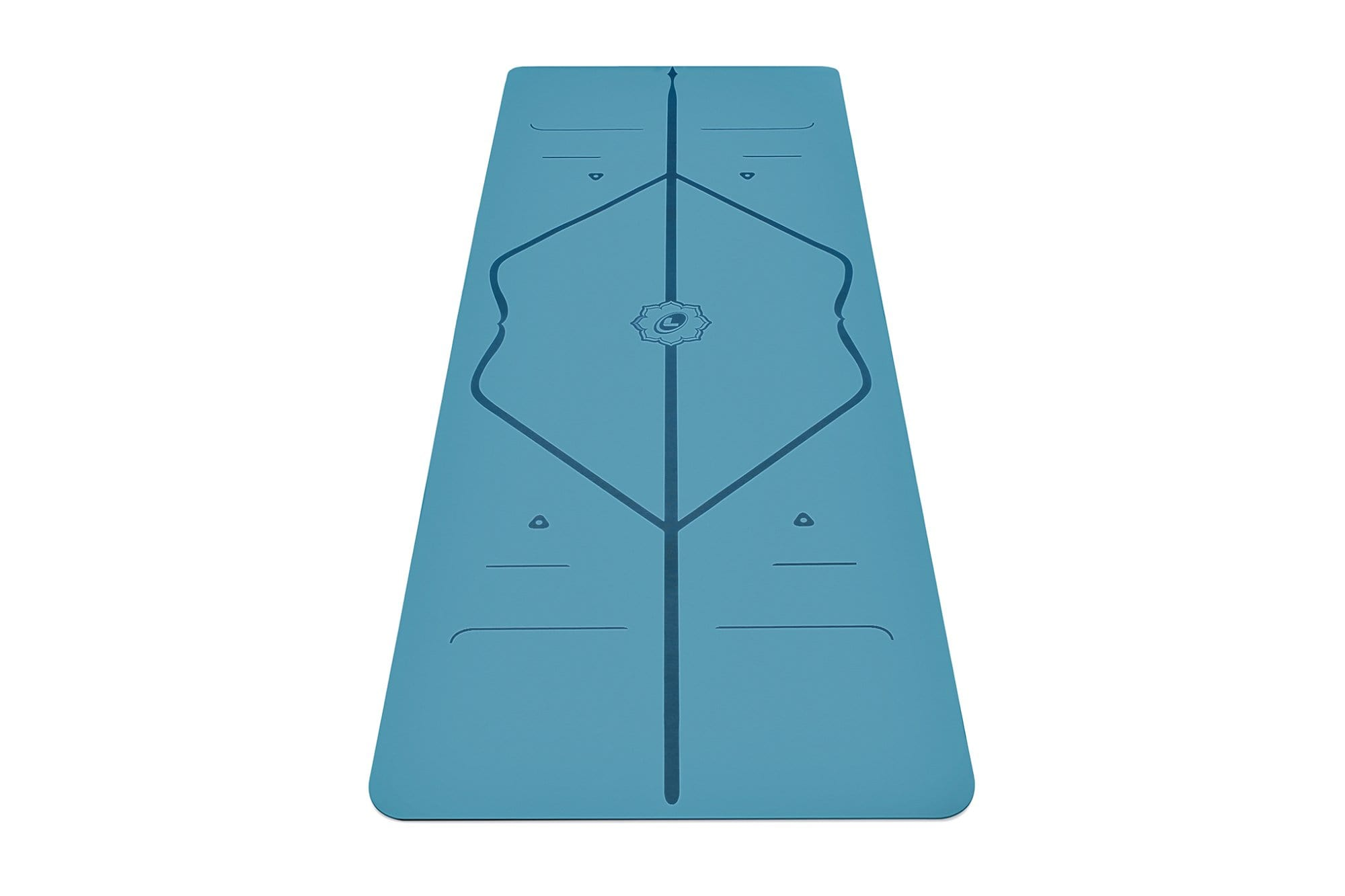 Portrait view of blue Yoga mat from Liforme