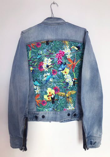 'Diesel' Denim Jacket, Tropical Rainforest design