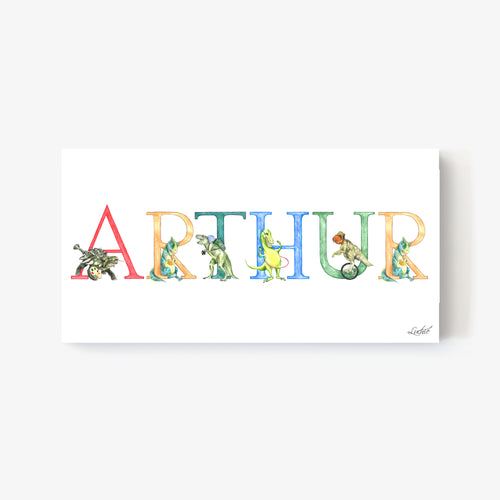 Dinosaur Alphabet Custom Names - Print on Canvas