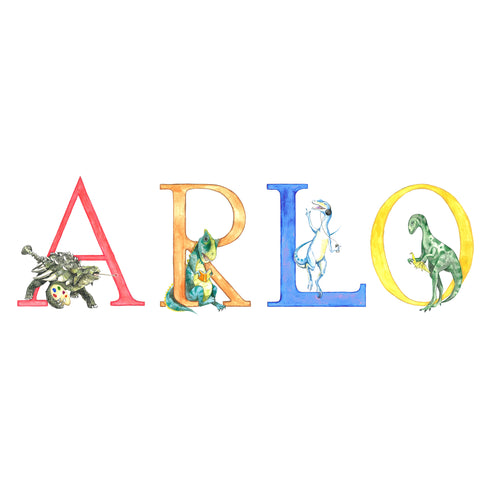 Dinosaur Alphabet Custom Names - Print (unframed)