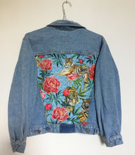 Load image into Gallery viewer, 'Eddie' Denim Jacket, Tigers and peonies design