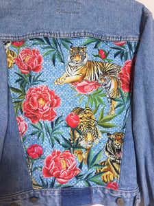 'Eddie' Denim Jacket, Tigers and peonies design