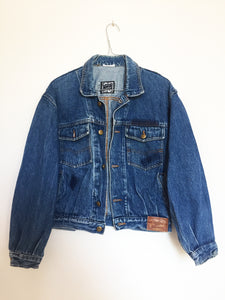 Italian Denim Jacket, blue elephant design