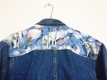 Load image into Gallery viewer, Italian Denim Jacket, blue elephant design