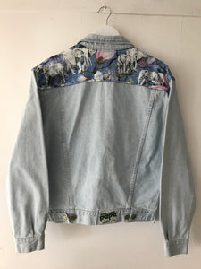 'Pepe' Upcycled Denim Jacket, Blue Magnolia Elephant Design