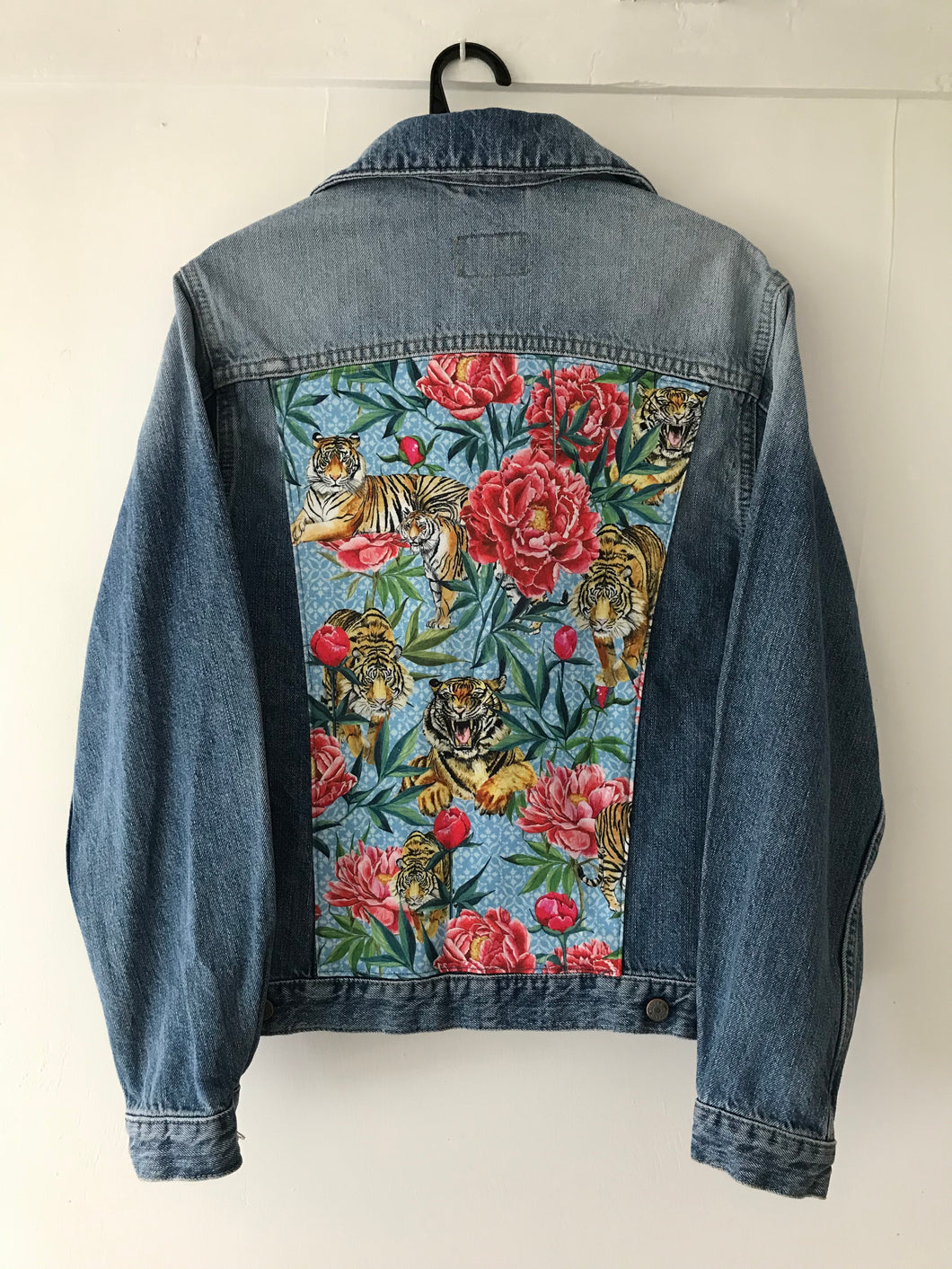 'Rifle' denim jacket, Tigers & Peonies design