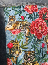 Load image into Gallery viewer, 'Rifle' denim jacket, Tigers & Peonies design
