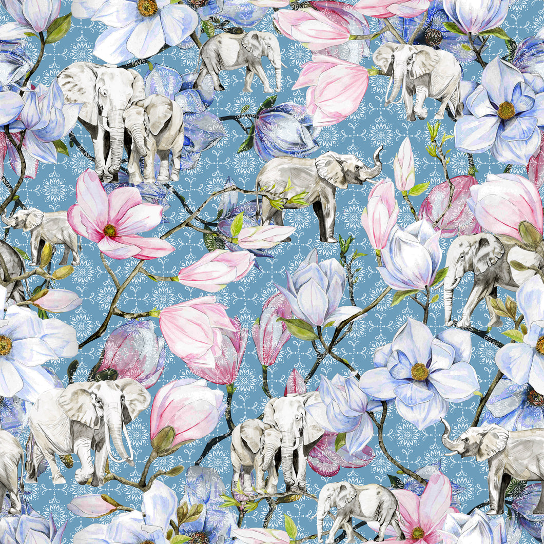 Blue Magnolia Elephants