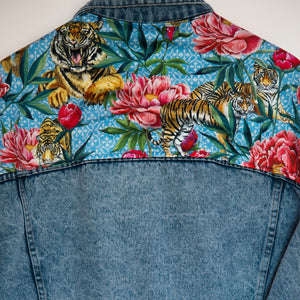 'Carerra' denim jacket, Tigers and Peonies design