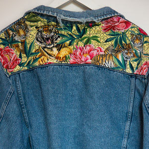 'Wrangler' denim jacket, Tigers and Peonies design