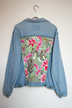 Load image into Gallery viewer, 'Green coast' denim jacket, Leopards and Lilies design
