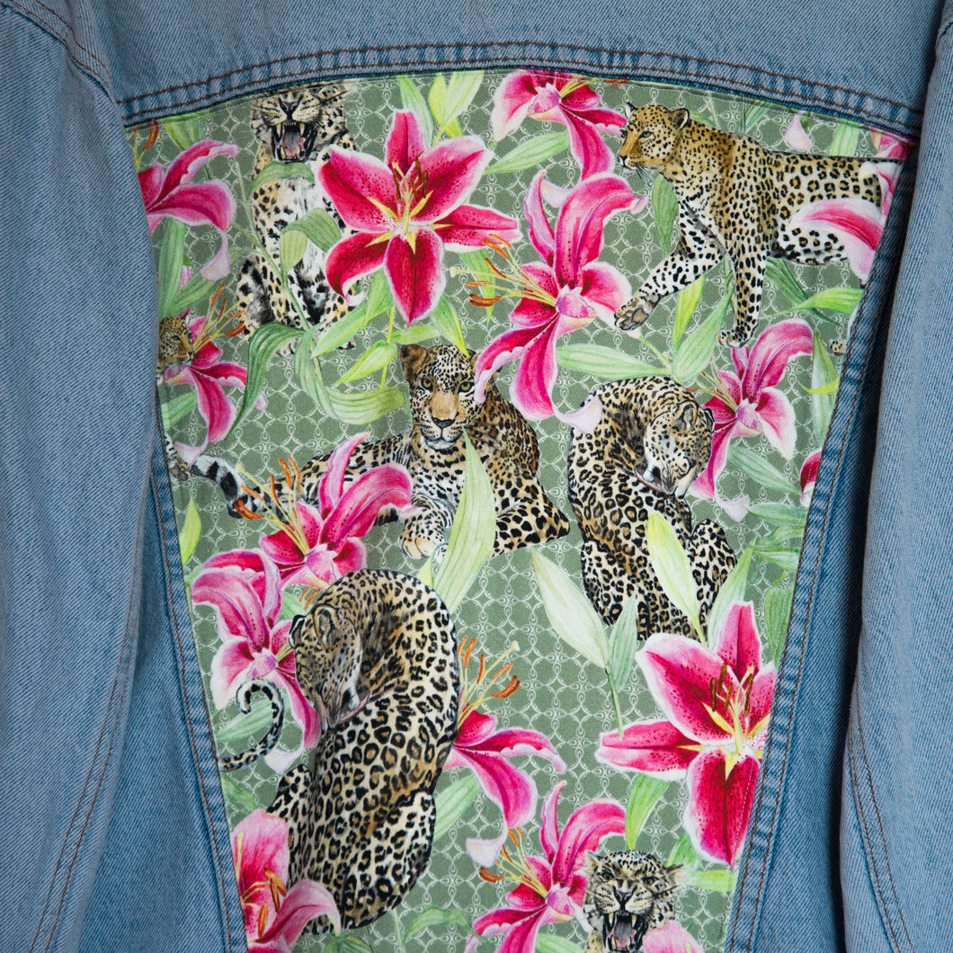 'Green coast' denim jacket, Leopards and Lilies design