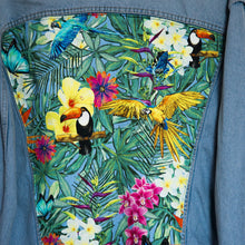 Load image into Gallery viewer, 'Carrera' Denim jacket, Tropical Rainforest design
