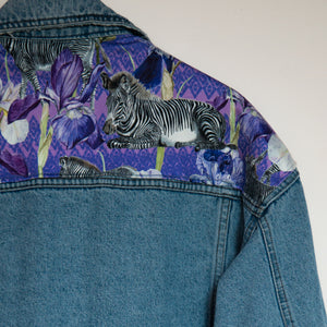 'Casucci' denim jacket, Zebra Iris design