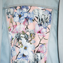 Load image into Gallery viewer, Levi's Denim jacket, Pink Magnolia Elephants design