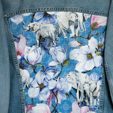 Load image into Gallery viewer, 'Replay' Denim jacket, Blue Magnolia elephant design
