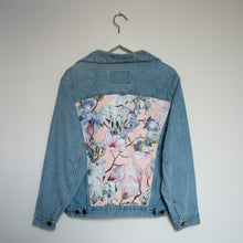 Load image into Gallery viewer, 'Carrera' Denim jacket, Pink Magnolia Elephants design